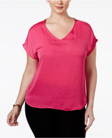 INC International Concepts Plus Size Short-Sleeve Zip-Shoulder Top, Only at Macy's