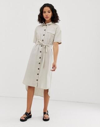 Noisy May button through utility shirt dress