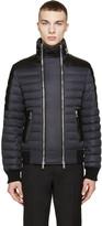 Balmain Black Leather-Trimmed Down Jacket