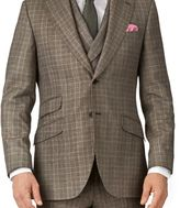 Charles Tyrwhitt Tan slim fit British check flannel luxury suit jacket