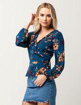 Blu Pepper Floral Ruffle Womens Wrap Top