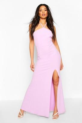 boohoo Strappy Back Split Front Maxi Dress