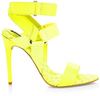 Alice + Olivia Talene Mix Media Leather Ankle Strap Sandals