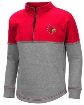 Colosseum Big Girls Louisville Cardinals Dot Half-Zip Pullover