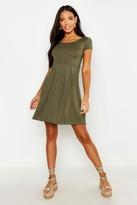 boohoo Claudia Jersey Cap Sleeve Skater Dress