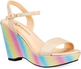 Neiman Marcus Bellal Rainbow Platform Wedge Sandals