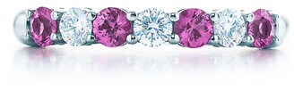 Tiffany & Co. Embrace band ring in platinum with diamonds and pink sapphires