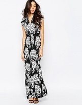 French Connection Tie Waist Maxi Dress In Shadow Bloom