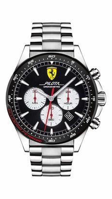 Ferrari Men's Pilota Quartz Stainless Steel and Bracelet Casual Watch
