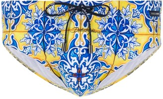 Dolce & Gabbana Maiolica print swimming trunks