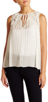 Alice + Olivia Kyrena Embroidered Pleated Tank