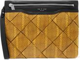 Rag & Bone Woven snake-effect leather clutch