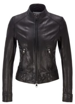 HUGO BOSS Regular-fit jacket in nappa leather with zip details