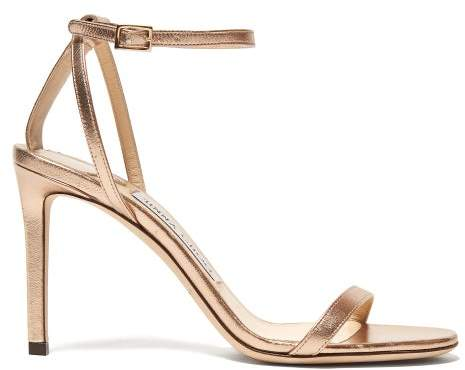 Jimmy Choo Minny 85 Metallic Leather Sandals - Womens - Rose Gold