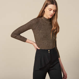 Sandro Lurex Ribbed Knit Sweater