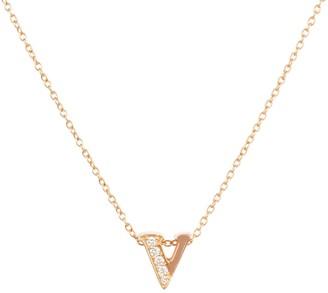 Latelita Diamond Initial Letter Pendant Necklace Rose Gold V