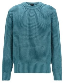 HUGO BOSS Virgin Wool Sweater With Chunky Rib Structure - Green