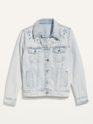 Old Navy Light-Wash Embroidered-Cutwork Jean Jacket for Women