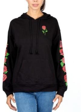 Rebellious One Juniors' Rose Hooded Sweatshirt