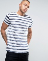 Esprit Crew Neck T-Shirt in Painted Stripe Print