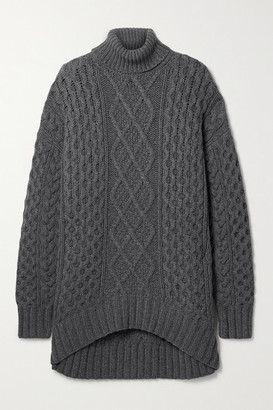 Michael Kors Collection Aran Oversized Cable-knit Cashmere Turtleneck Sweater - Anthracite