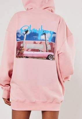 Missguided Playboy X Pink Spray Paint Car Graphic Hoodie Dress