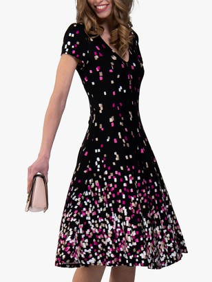 Jolie Moi Fit and Flare Abstract Print Dress, Black/Multi