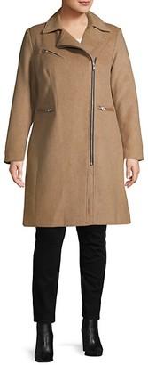 AVEC LES FILLES Plus Wool-Blend Moto Coat