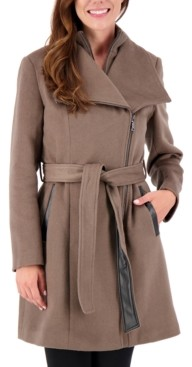 Vince Camuto Asymmetrical Belted Wrap Coat, Created for Macy's