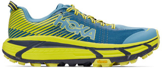 Hoka One One Blue and Yellow EVO Mafate 2 Sneakers