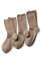 Lands' End Women's Seamless Toe Solid Cotton Blend Crew Socks (3-pack)-Spice Brown