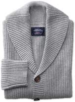 Charles Tyrwhitt Light Grey Rib Shawl Collar Wool Cardigan Size Large