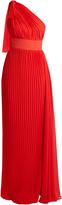 Elie Saab One-shoulder pleated georgette gown