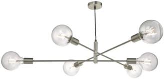 Där Lighting Dar Lighting - Satin Chrome Alana 6lt Pendant Lighting - Silver/White