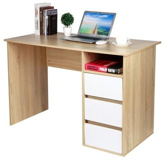 Latitude Run Fiadh Density Board Computer Desk Table with 3 Storage Drawers for Home Office Study Room