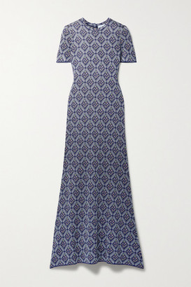 Paco Rabanne Metallic Jacquard-knit Midi Dress - Navy
