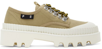 Proenza Schouler Beige and White City Lug Lace Up Derbys