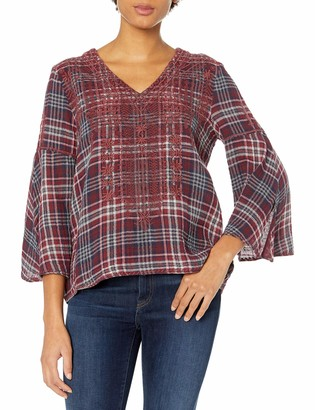 3J Workshop by Johnny was Women's Plaid Embroidered Swing Blouse