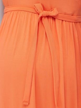 Mama Licious Maternity Jersey Maxi Dress With Tie Belt - Orange