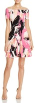 Aqua Brushstroke Off-The-Shoulder Flare Dress - 100% Exclusive