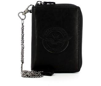 Aeronautica Militare Black Leather Zip Around Men's Wallet w/Chain