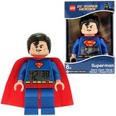 Lego DC Comics Super Heroes Superman Minifigure Clock | blue/red | plastic | 9.5 inches tall | LCD display | boy girl | official