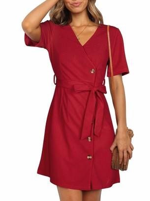 Berryou Womens Summer Casual T Shirt Short Mini Dress Sundress Spaghetti Strap Button Down Dress (Red 2X-Large)