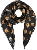 Moschino Black Multi Teddy Bear Print Twill Silk Square Scarf