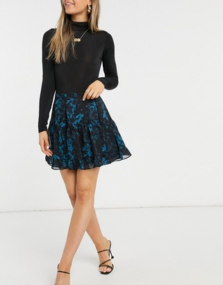 AllSaints Vara floaty mini skirt in black and blue floral