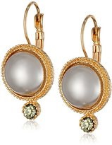 "Black Diamond 1928 Jewelry ""Pearl Essentials"" Gold-Tone Grey Accent Drop Earrings"