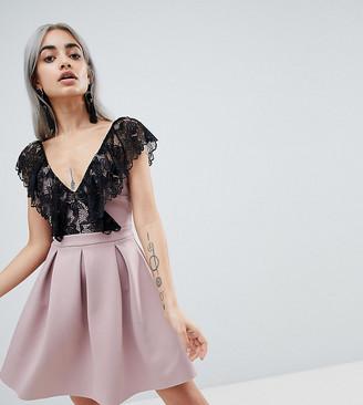 Asos DESIGN Petite scuba mini skater dress with lace