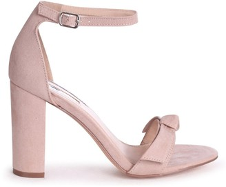 Linzi BEAUBELL - Nude Suede Block Heeled Sandal With Front Bow Detail