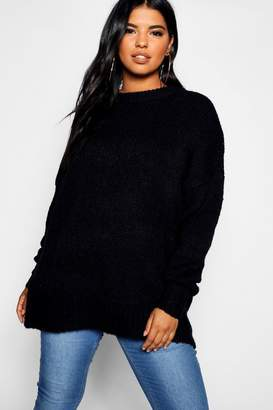 boohoo Plus Oversized Knit Boyfriend Jumper