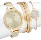 Adrienne Vittadini Glitz Goldtone Bracelet Watch